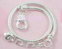 10pcs Snake Chain Lobster Clasp Silver /P Charm Bracelets Fit European Bead L13