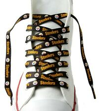 """Pittsburgh Steelers Team Logo Colors BLACK 54"""" Shoe Laces One Pair Lace Ups NFL"""