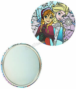 "NEW Disney FROZEN ELSA ANNA SISTERS Makeup Purse 3"" Round Button Pocket Mirror"