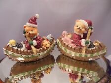 Lot 2-Christmas Bears Delivering Toys In Canoes Resin & Ceramic Figurines 2 3/4""