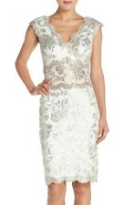 Tadashi Shoji Two Tone Feather/Sand Lace Sequin Sheath Dress - 8 NWT $368
