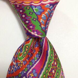 BATTISTONI Bat 0838 Silk XL Necktie ITALY Luxury Geometric Multi-Color EUC Rare