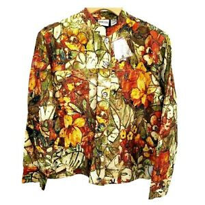 CHICO'S Gold Orange Silk Beaded Embroidered St Lucia Jacket M NWT $119 TTCB