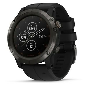 Garmin fenix 5X Plus Sapphire Carbon Gray GPS Watch With Black Band 010-01989-0A