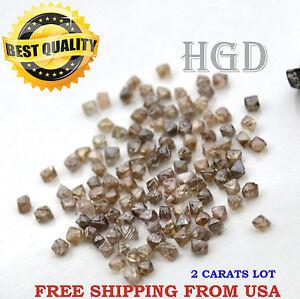 100% Natural Loose Rough Diamonds RARE OCTAHEDRON Crystal Brown raw 2.20mm 2crts