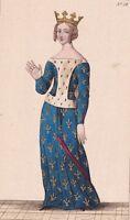 Portrait Jeanne de Bourbon Duchesse Consort Normandie Reine de France Charles V