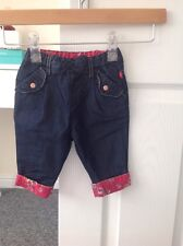 BABY GIRL 'TEDBAKER' DENIM BLUE/PINK FLORAL TROUSERS.SIZE 0-3 MONTHS. GOOD COND.