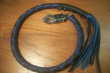 biker whip getback motorcycle BLACK & DARK BLUE Leather whip By Stitch!!!!!