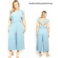 Haute Plus Size Blue Cut out Silky Wide Leg Crepe Ruffle Jumpsuit 1X 2X 3X 4X