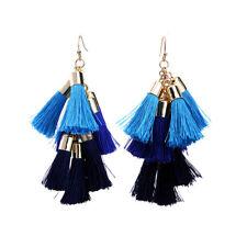Blue Boho String Cluster Tassel Chandelier Alloy Dangle Earings