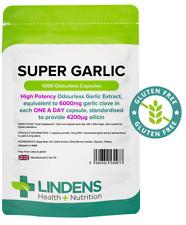 Lindens Super Strength Garlic 6000mg Odourless 1000 capsules oil softgels