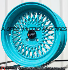 15X8 F1R F01 WHEEL 4x100 +25 73.1 TEAL RIM FITS BMW 318 325 E30 1986-2001