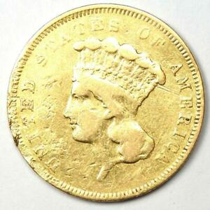 1855 Indian Three Dollar Gold Coin ($3) - VF Details (Damage) - Rare Coin!