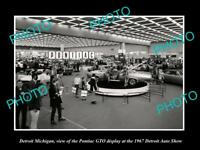 OLD LARGE HISTORIC PHOTO OF DETROIT MICHIGAN THE SHOW PONTIAC GTO DISPLAY c1967