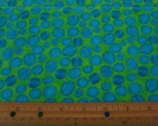 1 yard of EEK MONSTERS BLUE BUBBLES on GREEN 100% Cotton Fabric