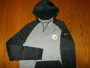 NIKE THERMA-FIT NFL PITTSBURGH STEELERS HOODED SWEATSHIRT WOMENS LARGE EXCELLENT