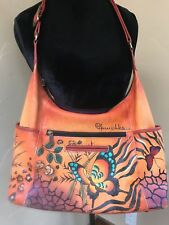 Anushka Handpainted Leather Large Hobo Bag with matching wallet
