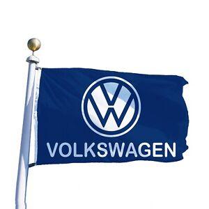 Volkswagen Flag Banner 3x5 ft German VW Car Garage Blue Car Enthusiasts Beetle