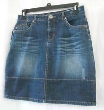 Justice Jeans denim skirt skort 16R blue pockets whiskering flannel detail short