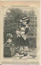 ANTIQUE VICTORIAN CHILD GIRL YORKSHIRE TERRIER MOTHER DOG PUPPIES GARDEN PRINT