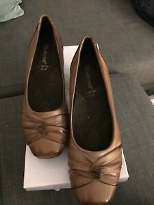 bnib BOULEVARD COURT SHOES UK 5 BROWN LEATHER TWIST KNOT FRONT SMALL BLOCK