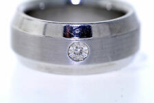 Men's Stainless Steel & 10K White Gold .01ct Genuine Diamond 10mm Band Ring