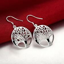 Women 925 Sterling Silver Plated Tree of Life Drop Dangle Earrings Sweet Jewelry