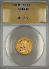 1913 Indian Head Half Eagle $5 Gold Coin ANACS AU-55 WW
