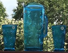NWT! Vidrios San Miguel Spain Recycled Glass Pitcher & 2 Glasses, Brilliant Blue