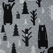 Sweatshirt knit jersey stretch cotton BEARS print on grey children's fabric