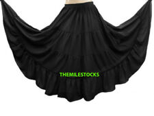 TMS BLACK Chiffon 4 Tier Skirt Belly Layer Tribal Gypsy ROBE JUPE Dance EHS C4L