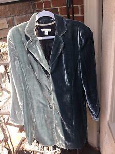 COLDWATER CREEK Dusty Blue  Silk Velvet Lined Opera Coat Size 16 Read Descript