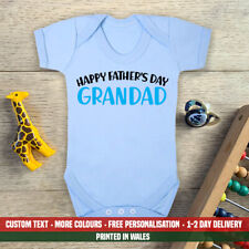 Happy Fathers Day Grandad Blue Baby Vest New First Dad Son Grandson Gift Idea