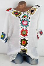 40 42 44 ensueño häkel túnica Ibiza look algodón vestido de playa blanca-multicolor