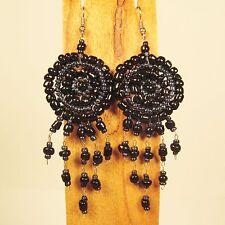 "2 1/2"" Hematite Black Dream Catcher Handmade Dangle Seed Bead Hook Earring"