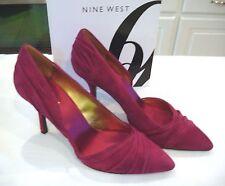 """NINE WEST Guetette Deep Red Cranberry Suede 3 1/2"""" Heels Shoes Sz 10 M NIB $89"""