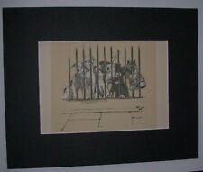 Dogs Behind Bars Print Cecil Aldin 1928 Bookplate 8x10 Matted Adorable