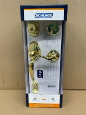 NEW Schlage Plymouth Design Flair Lever Entry Handset in Ultimate Polished Brass