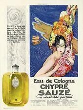 """""""SAUZE : Eau de Cologne CHYPRE"""" Annonce entoilée Jean-Gabriel DOMERGUE 1928"""