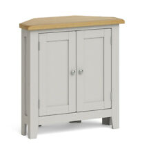 Elsdon Grey Painted Corner Cupboard / Modern Small Cabinet / Sideboard Storage