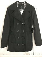 Rue 21 Womens Black Wool Blend Pea Coat Double Breasted Jacket Size Small Lined