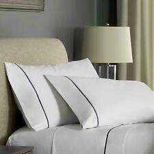 FlatIron Hotel Satin Stitch Sheet Set, Queen, White/Indigo 4 Piece