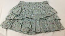 Johnnie B Size Small (11-12 Years) Blue Multi-colored Floral Tiered Ruffle Skirt