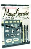 ART SET A4 Spiral Bound Manga character drawing pad Stencil 3 marker pens RD514