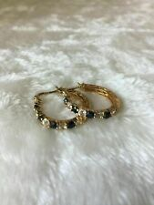 Victoria Townsend Hoop Earrings 18k Gold Over Silver Sapphire Fo118