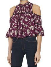 NWT $295 Cinq a Sept Soha Romantic Cold-shoulder Floral 100% Silk Top sz M