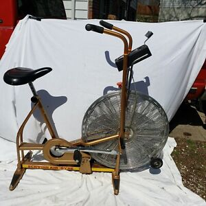 Vintage Schwinn Air-Dyne Stationary Exercise Bike Gold - All original pieces!