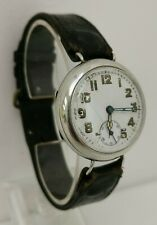 Vtg 1915 Buren Solid Sterling Silver Swiss 15J Trench Officers Gents Watch 34mm