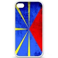 Coque housse étui tpu gel motif drapeau La Réunion Iphone 4 / 4S