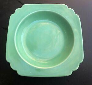 "NICE & CLEAN VINTAGE GREEN HOMER LAUGHLIN RIVIERA 8"" SOUP BOWL DEEP PLATE"